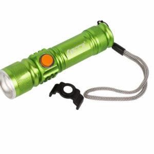 Фонарик с зарядкой от USB, зеленый